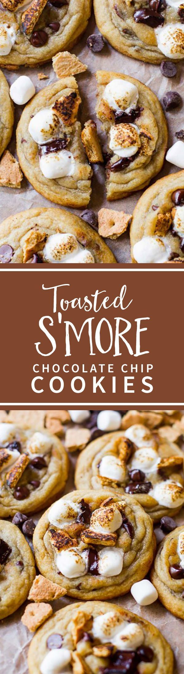 Soft and chewy chocolate chip cookies with toasted marshmallows and graham crackers! S'more chocolate chip cookies on sallysbakingaddiction.com