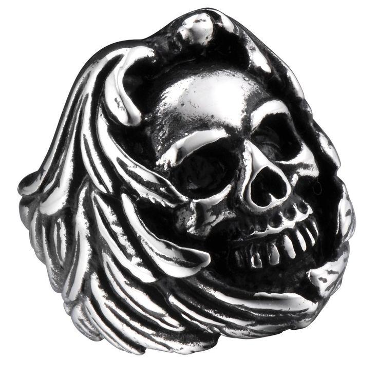 R&B Herren Ring Edelstahl - Kollektion Bad Ass - Gothic Totenkopf (Silber, Schwarz): 22,90€