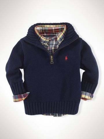 Half-Zip Mockneck Sweater - Infant Boys Sweaters - RalphLauren.com