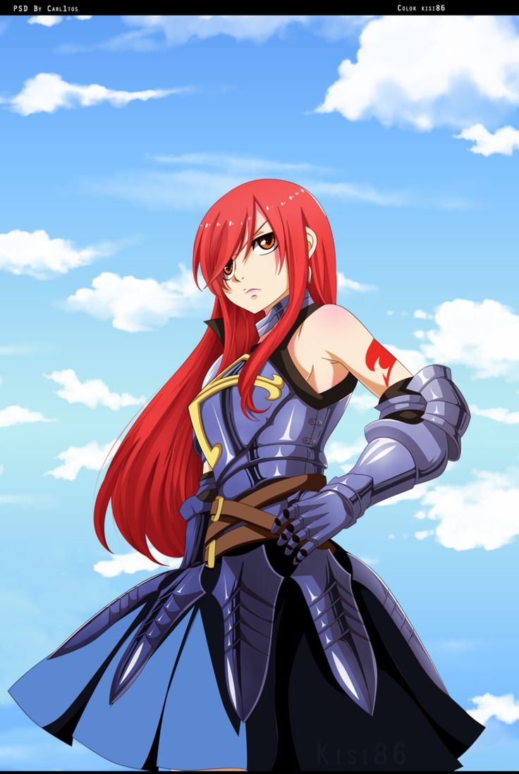 Fairy Tail- Erza. But I thought her guild mark was blue ...