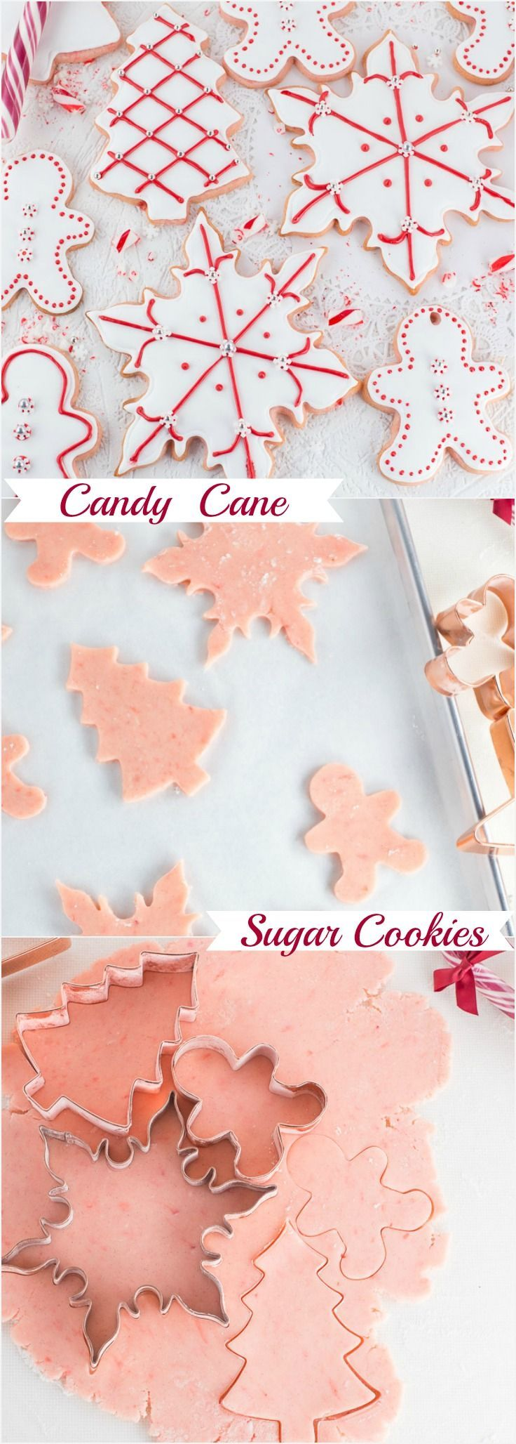 Amazing tasting Candy Cane Sugar Cookies! The perfect recipe for making decorative cut out cookies. The best sugar cookies I have ever made with delicious candy cane flavour!