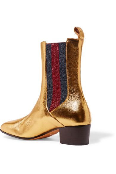 Heel measures approximately 45mm/ 2 inches Gold leather, navy and red textured-lamé Pull on Made in Italy