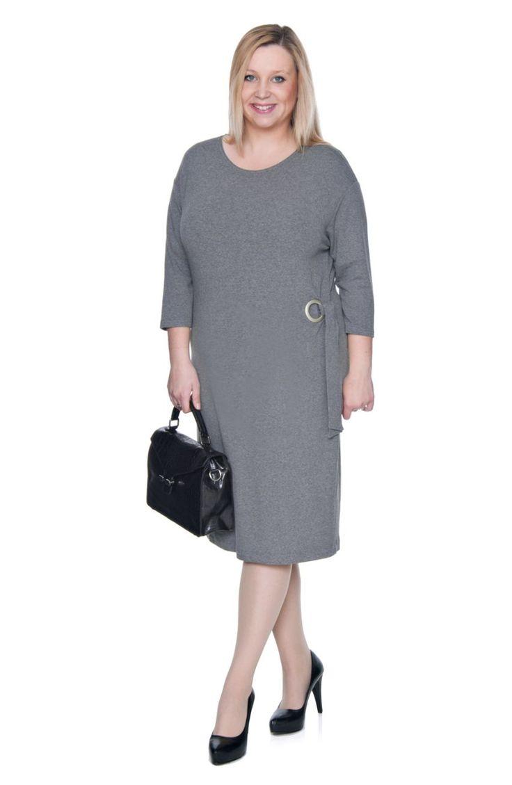 Szara sukienka z wiązaniem - Modne Duże Rozmiary
