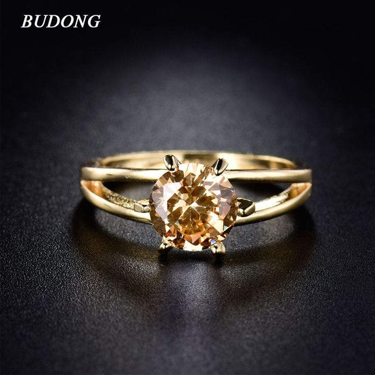 Valentine's Day Gifts Women  Gold Plated Finger Ring with Yellow Crystal Cubic Zirconia November Birthstone Wedding Ring R022