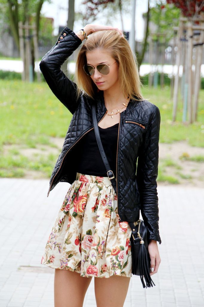 Shop this look on Lookastic: http://lookastic.com/women/looks/necklace-tank-bomber-jacket-skater-skirt-crossbody-bag-sunglasses/9436 — Gold Necklace — Black Tank — Black Quilted Leather Bomber Jacket — Beige Floral Skater Skirt — Black Leather Crossbody Bag — Brown Sunglasses: