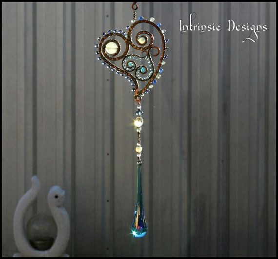 Suncatcher Heart with Swarovski Crystal and by IntrinsicDesignsArt
