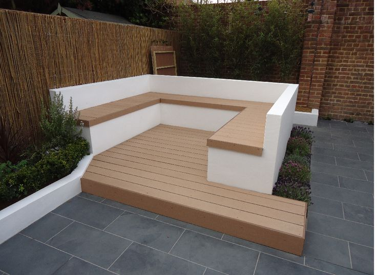 Recycled deck, sustainable garden materials,