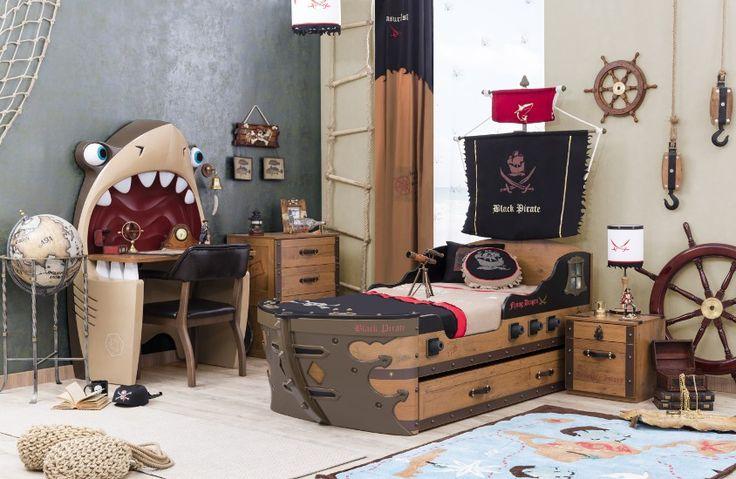 Chambre coucher enfant black pirate compl te par ilek for Recherche chambre a coucher