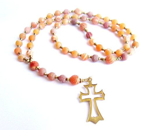 Mens rosary necklace stainless steel cross necklace orange