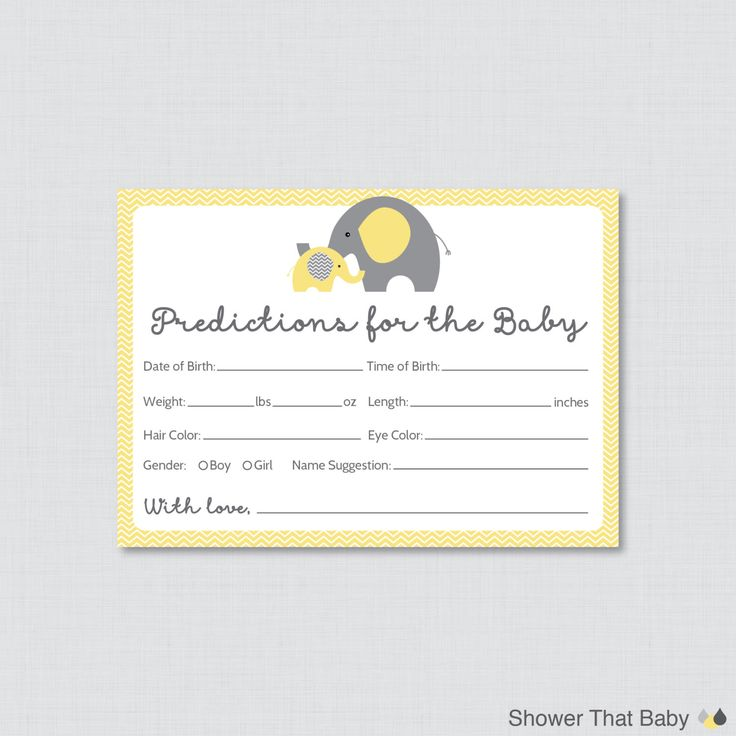 Elephant Baby Shower Prediction Cards - Instant Download - Yellow Gray Baby Statistics Game Guess Baby's Birthday, Weight, etc -  0024-Y by ShowerThatBaby on Etsy https://www.etsy.com/listing/210178999/elephant-baby-shower-prediction-cards