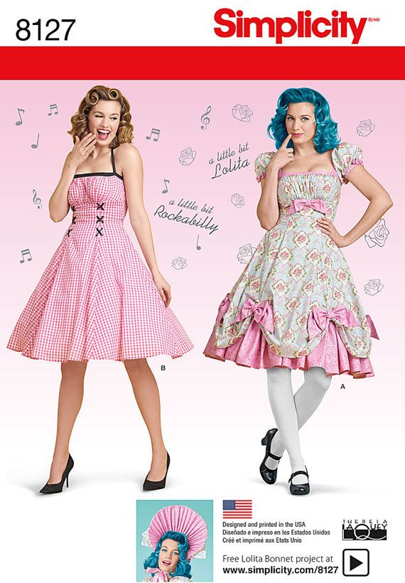 Simplicity 8127-Pin up Girl Dress Rockablilly Style