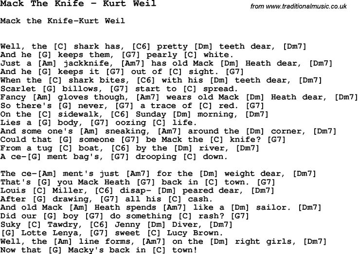 Song Mack The Knife by Kurt Weil, with lyrics for vocal performance and accompaniment chords for Ukulele, Guitar Banjo etc.