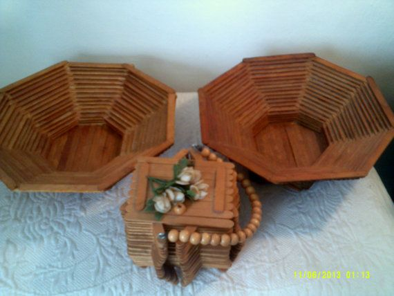 Three Vintage Popsicle Stick Baskets Retro Tramp by HannahsAtticMt
