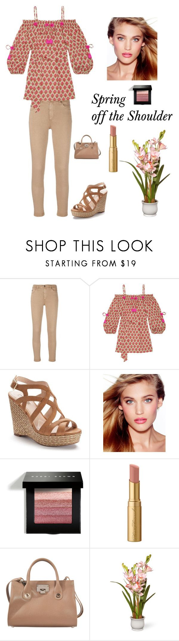 """Spring"" by kotnourka ❤ liked on Polyvore featuring AG Adriano Goldschmied, Figue, Jennifer Lopez, Charlotte Tilbury, Bobbi Brown Cosmetics, Too Faced Cosmetics, Jimmy Choo and National Tree Company"