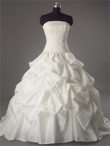 Ball Gown Straight Neckline Beaded Lace Appliqued With Pick-ups Satin Taffeta Wedding Dress WD1056 www.tidedresses.co.uk $240.0000