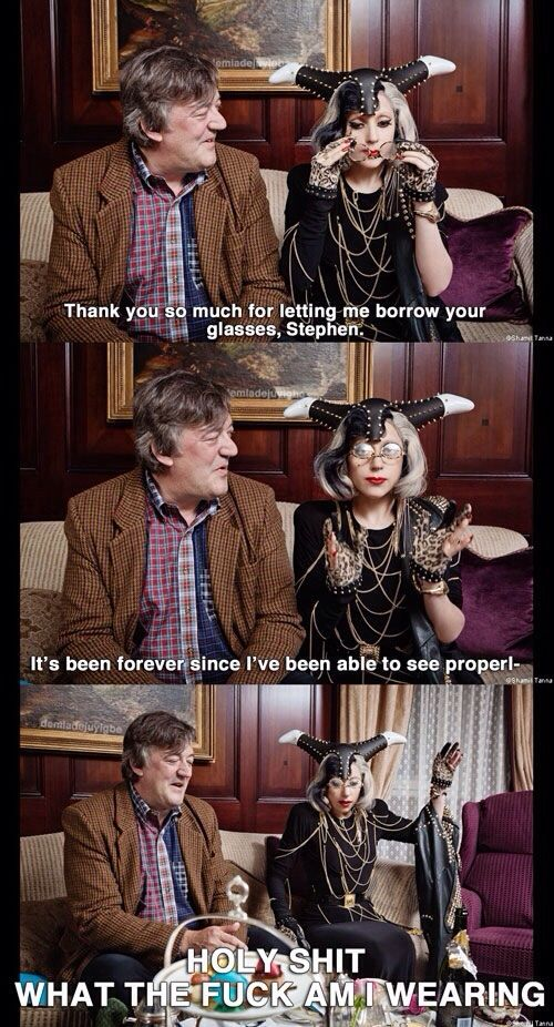 The real story behind Lady Gaga's wardrobe - Imgur This is the fucking funniest thing ever. I fucking love this so much.