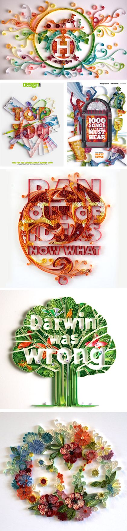 Paper quilling typography by Yulia Brodskaya