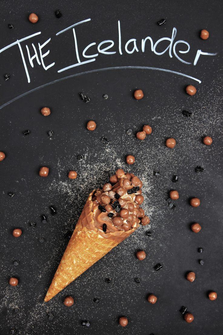 The Icelander, one of our signature cones. Light chocolate dip, puffed chocolate wheat balls, liqurish and sated liqurish powder.