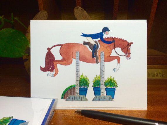 Handmade Illustrated Hunter Jumper Greeting Card: Chestnut