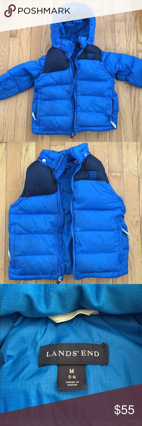 Boys Lands' End Winter Puffer Jacket Vest Combo Boys Lands' End Winter Puffer Jacket Vest Combo. Royal blue nylon putter filled with goose down. Sleeves zip off to make jacket a vest. Good zips on and off too. Great jacket for your little guy! Good used condition. No damage. Size 5-6 (medium). Lands' End Jackets & Coats Puffers