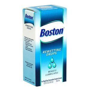 Boston Rewetting Drops for Rigid Gas Permeable Contact Lenses, 1/3-Ounce Bottles (Pack of 3) by Boston. Save 11 Off!. $21.45. Allows for longer, more comfortable wearing time. For rigid gas permeable contact lenses. Coats lens surface; restores natural tear layer. Please read all label information upon delivery. Exclusive, patented, sterile formula. For Rigid Gas Permeable Contact Lenses. Sterile. Rewets. Lubricates. Boston Rewetting Drops help you keep your lenses comfortabl...