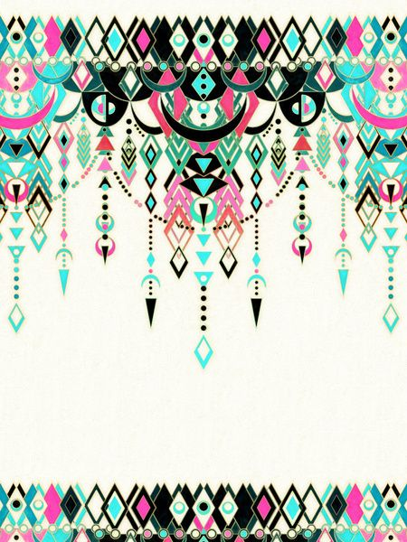 Modern Deco in Pink and Turquoise Art Print by Micklyn