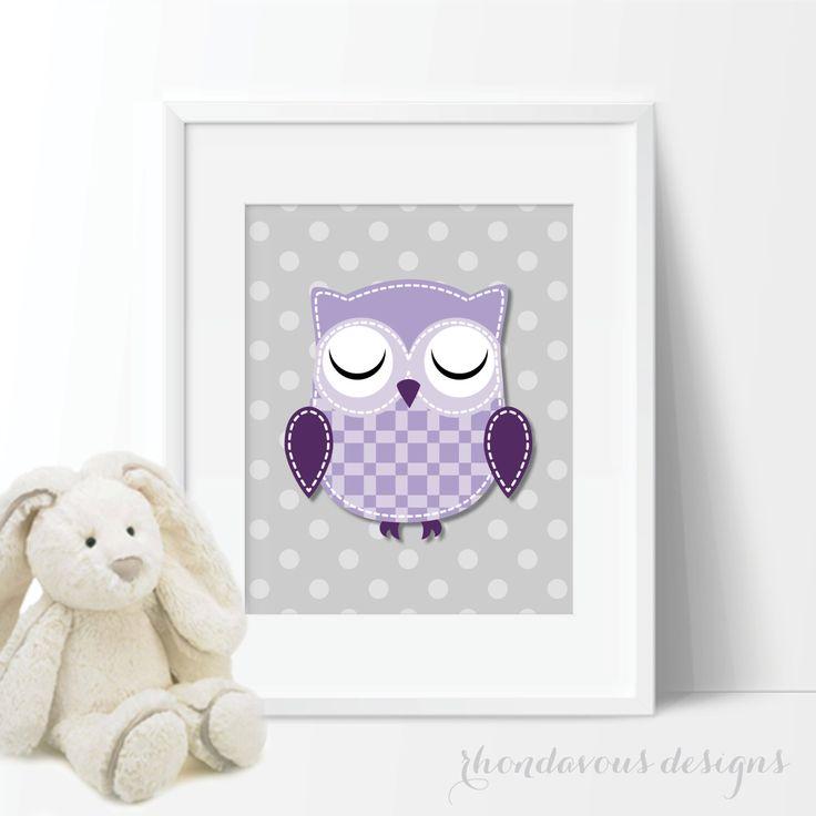 Baby Girl Nursery Art Prints - Owl Nursery Art - Owl Nursery Decor - Owl Bedroom Art - Owl Bedroom Decor - Lavender Purple Gray (S-312) by RhondavousDesigns2 on Etsy https://www.etsy.com/listing/184523811/baby-girl-nursery-art-prints-owl-nursery