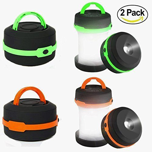 Camping Lantern 2 Pack Led Lantern Mini LED camping lights flashlights,Collapsible Portable Waterproof Tent Light Emergency light (Green&Orange) By LighTouch | Top Gift Guides