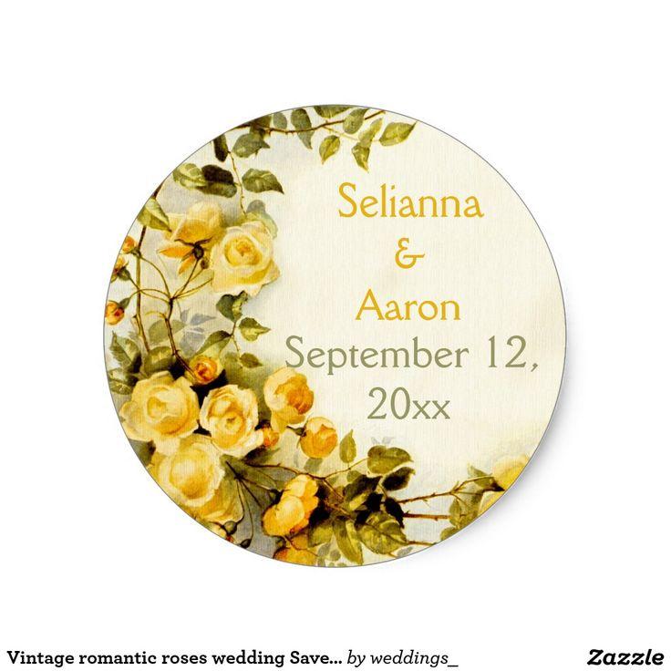 zazzle wedding invitations promo code%0A Vintage romantic roses wedding Save the Date Classic Round Sticker
