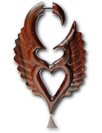 Níquel Plug textura tapones para los oídos gratis Chic-Net alas del corazón de madera Piercing Sono Falsos castaños