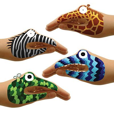 Forget the face paint!  Instantly apply hand tatoos---two sets of eight animals or two sets of eight monsters for $12 ~~~less that $1 per kid!