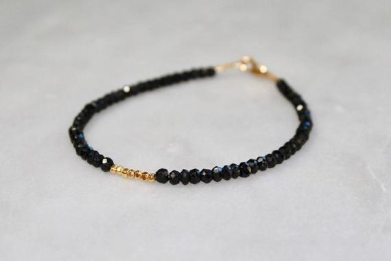 Spiritual Black Tourmaline Bracelet With Meaning   Minimalist Black Bead Bracelet   Raw, Genuine Black Tourmaline & Sterling Silver or Gold – Jules