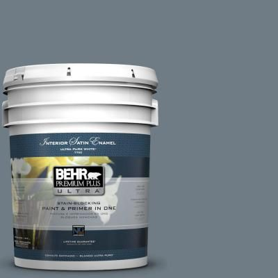 behr premium plus ultra 5 gal n490 5 charcoal blue satin on home depot behr paint colors interior id=61075