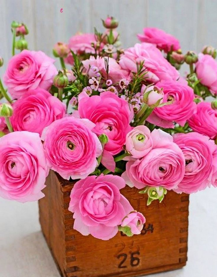 Informal Flower Arrangement of Pink Ranunculus in wooden box