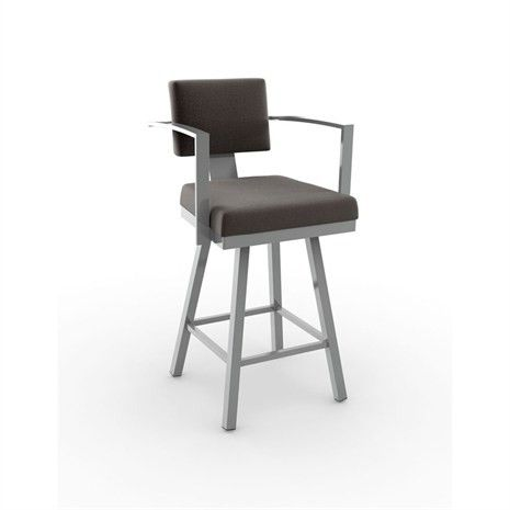 This modern bar stool sports a steel frame, cushioned seat and back and ample arm rests that provide the ultimate in comfort while being stylish.