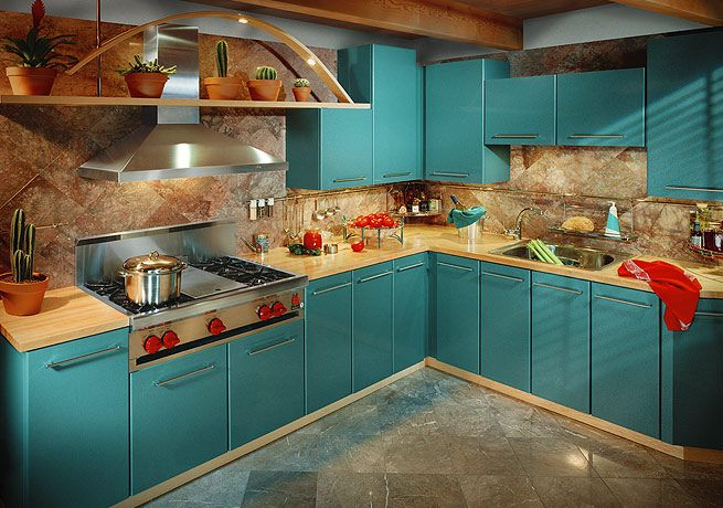 teal cabinets with brown backsplash