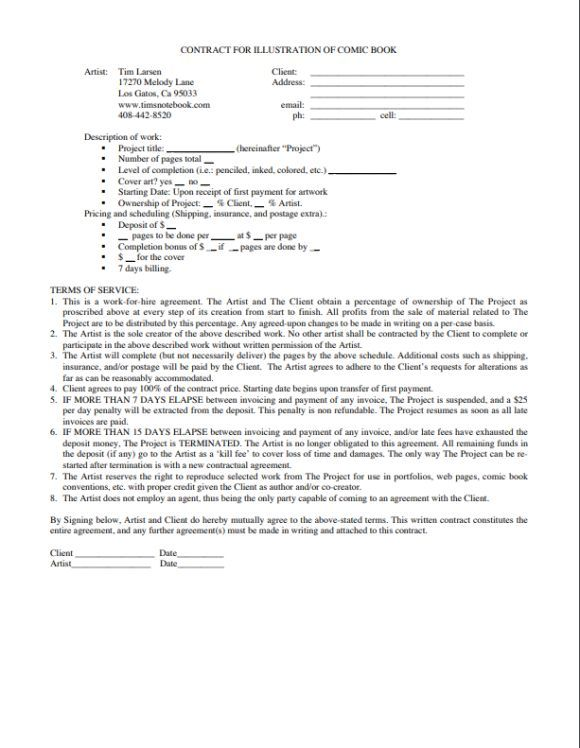 Work For Hire Agreement Illustrator Work For Hire Contract Template Contract