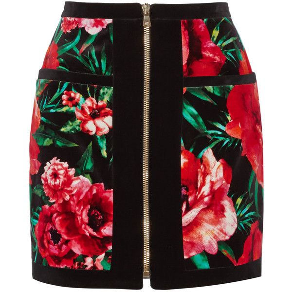 Balmain Floral-print cotton-velvet mini skirt (2,480 PEN) ❤ liked on Polyvore featuring skirts, mini skirts, bottoms, red, zipper skirt, balmain skirt, short floral skirt, red mini skirt and floral miniskirts