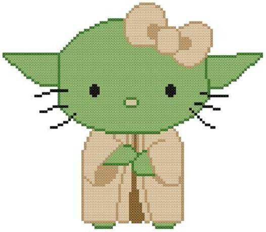 Cross Stitch PATTERN COLOR Hello Kitty Cat Yoda Star Wars Grand Jedi #Resparkled