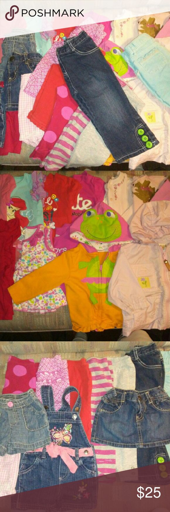Huge lot of girls clothing size 12-18 months 23 pieces of clothing- 2 zipper front hoodies 2 skirts 1 shorts 1 overall jean shorts 2 long sleeve tops 1 long sleeve sweater 1 pair of jeans 1 pair of cords(small spot on leg) 7 tops(2 are tank top type tops) 5 leggings Lots of Carters, First Impressions, Cabelas, Gymboree, Buster Brown, Old Navy. Good used condition- make offer! Jackets & Coats