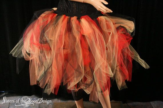 Streamer knee length tutu skirt adult Flame red black orange dance doller derby -- You Choose Size -- Sisters of the Moon. $35.00, via Etsy.