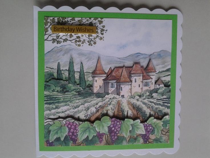 Decoupage vineyard scene from joyfulkreations on ebay