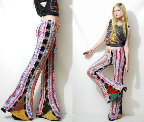 Reserved // CROCHET Pants FLARES Bells Rainbow 70s Vintage knit WOOL Hippie Boho Bohemian Afghan Stitch // Handmade ooak S M