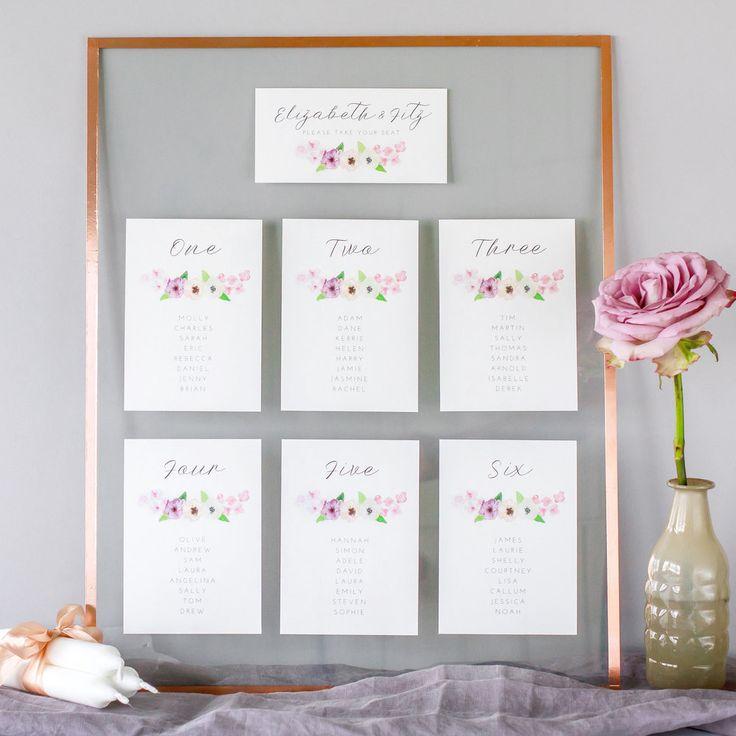 Modern Table Plan, Alternative Table Planner, Seating Planner, Seating Plan Chart, Table Plan Cards, Floral, Flowery, Hand Painted Watercolour, Midsummer2.jpg