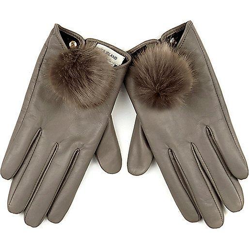 Grey leather pom pom gloves - gloves - accessories - women