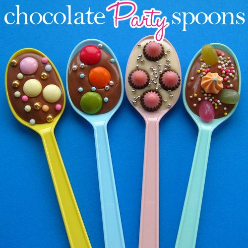 cute favor - could match any theme or party. Halloween (chocolate w/ orange sprinkles), Christmas (white chocolate with red/green candies) Baby Shower (white chocolate with pink or blue candies) Wedding (white with white sanding sugar) ..... etc! I think you could even take royal icing and pipe a monogram on the spoon (wedding, engagement, baby shower)