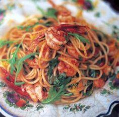 Glutenvrije pasta met knoflookgarnalen, tomaat en rucola...Jamie oliver