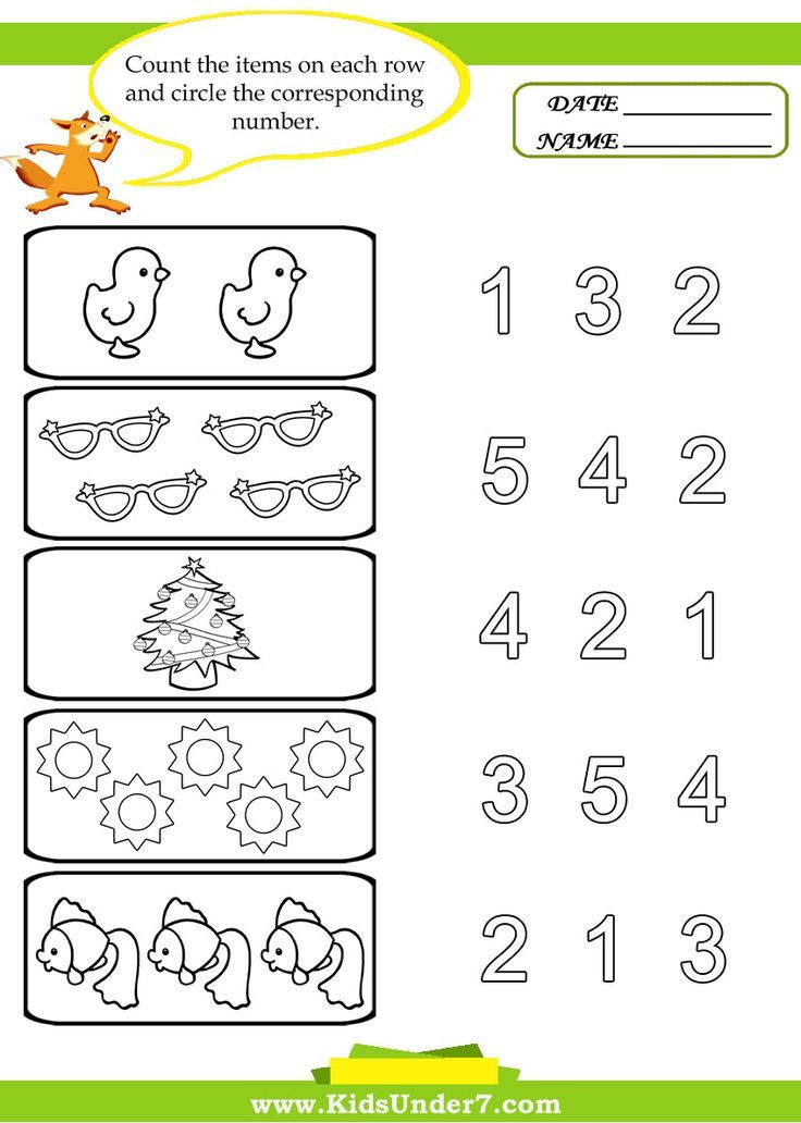 preschool worksheets Kids Under 7 Preschool Counting