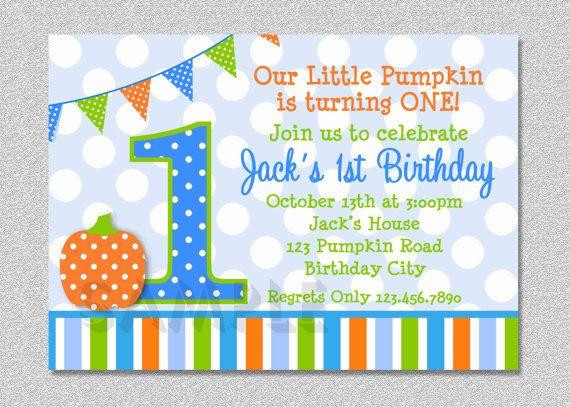 Pumpkin Birthday Invitation Fall 1st Birthday Party Invites Boys or Girls on Etsy, $15.00