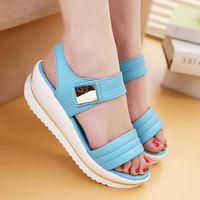2015 mujeres del verano sandalias nuevas de la llegada 100 de la buena calidad cuero partido de la vaca de costura de moda talón 5.5 CM sandalia zapatos de las bombas CD03